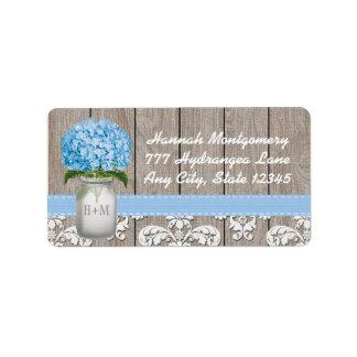 Tarro de albañil con monograma del Hydrangea azul Etiquetas De Dirección