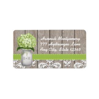 Tarro de albañil con monograma del Hydrangea verde Etiqueta De Dirección