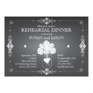 Tarro de albañil de la cena del ensayo del boda de comunicado