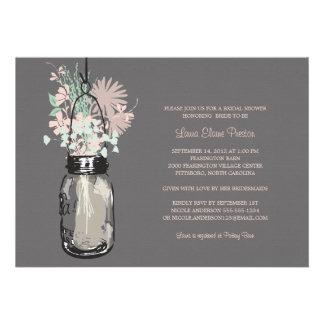 Tarro de albañil de la ducha y Wildflowers nupcial Invitaciones Personalizada