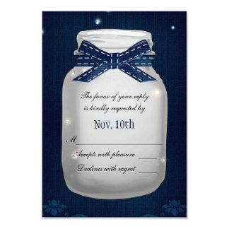 """Tarro de albañil de los azules marinos con la invitación 3.5"""" x 5"""""""