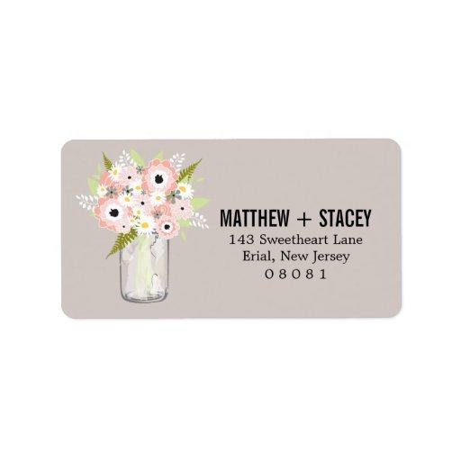 Tarro de albañil del boda y floral rústicos etiquetas de dirección