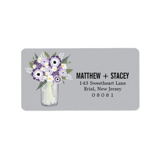 Tarro de albañil del boda y floral rústicos etiqueta de dirección