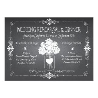 Tarro de albañil del ensayo y de la cena del boda