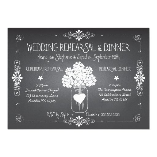 Tarro de albañil del ensayo y de la cena del boda  anuncios