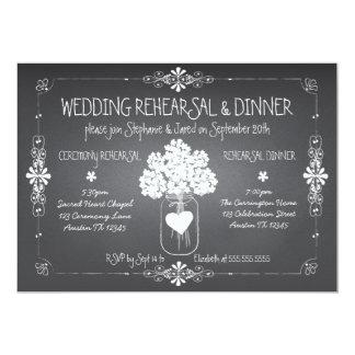 Tarro de albañil del ensayo y de la cena del boda invitación 12,7 x 17,8 cm