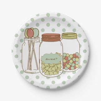 Tarro de albañil dulce y placa de papel del platos de papel