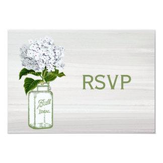 Tarro de albañil elegante y Hydrangea blanco RSVP Invitación 8,9 X 12,7 Cm