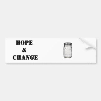 Tarro de albañil: Esperanza y cambio Pegatina Para Auto