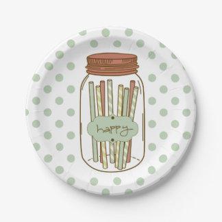 Tarro de albañil feliz y placa de papel de paja platos de papel