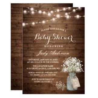 """Tarro de albañil floral de la respiración del bebé invitación 5"""" x 7"""""""