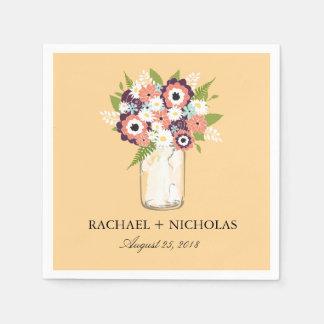 Tarro de albañil floral el | que se casa servilletas de papel