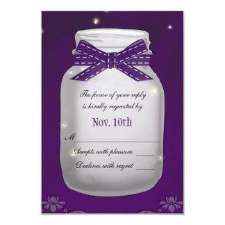 """Tarro de albañil púrpura con la tarjeta de la invitación 3.5"""" x 5"""""""