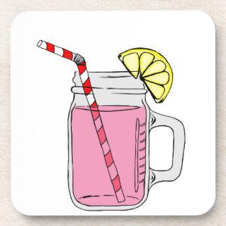 Tarro de albañil rosado de la limonada