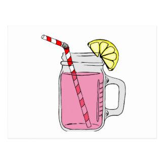 Tarro de albañil rosado de la limonada postal