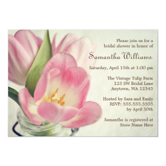 Tarro de albañil rosado de los tulipanes del invitación 12,7 x 17,8 cm