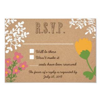"""Tarro de albañil rústico con las flores en el invitación 3.5"""" x 5"""""""