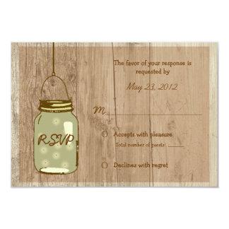 Tarro de albañil rústico de madera del país que invitación 8,9 x 12,7 cm