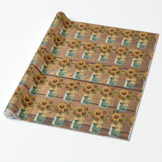 Tarro de albañil rústico del país con el girasol papel de regalo