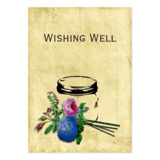 tarro de albañil rústico del vintage que desea tarjetas de visita grandes