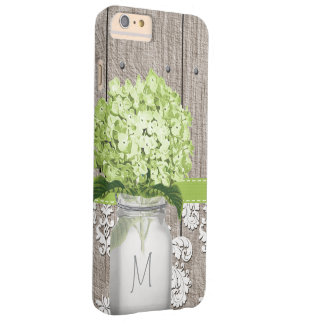Tarro de albañil verde del monograma del Hydrangea Funda Barely There iPhone 6 Plus