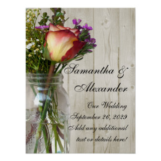 Tarro de albañil w/Rose y Wildflowers Impresiones