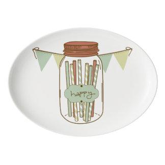 Tarro de albañil y disco felices de la guirnalda badeja de porcelana