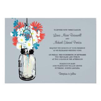 Tarro de albañil y Wildflowers que casan Comunicado Personalizado