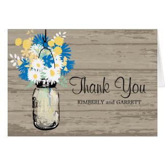 Tarro de albañil y Wildflowers rústicos Felicitacion