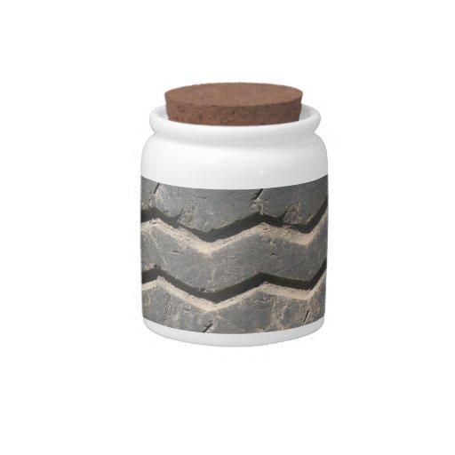 Tarro de cerámica decorativo usado del neumático d platos para caramelos
