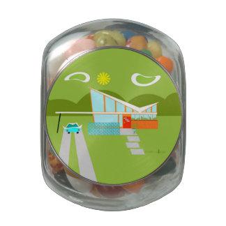 Tarro de cristal del caramelo de la casa retra del jarras de cristal