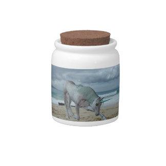 Tarro de cuernos del caramelo del unicornio jarra para caramelo