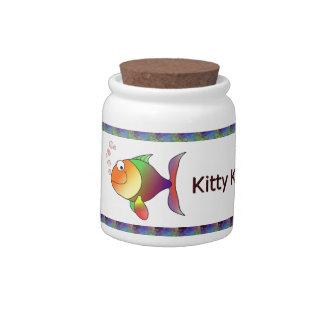 Tarro de encargo de Gatito-Kandy del Gato-UNo-Copi Jarras Para Caramelos