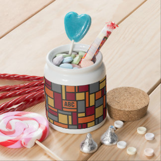 Tarro de encargo del caramelo del monograma del platos para caramelos