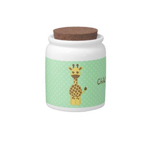Tarro de encargo del recuerdo de la jirafa del beb jarras para caramelos