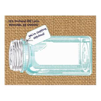 Tarro de enlatado del vintage con la arpillera tarjeta postal