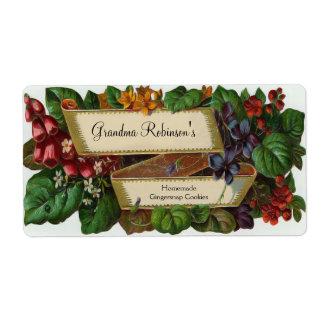 Tarro de enlatado floral del vintage de encargo, e etiquetas de envío