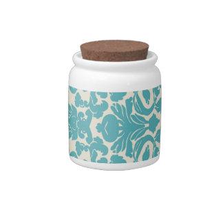 tarro de galletas azul del caramelo del damasco de jarra para caramelo