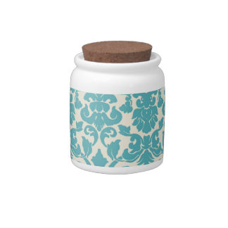 tarro de galletas azul del caramelo del damasco de jarras para caramelos
