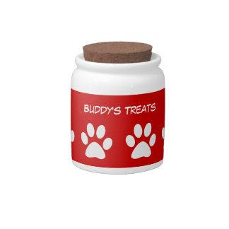 Tarro de galletas de la invitación del perro jarras para caramelos