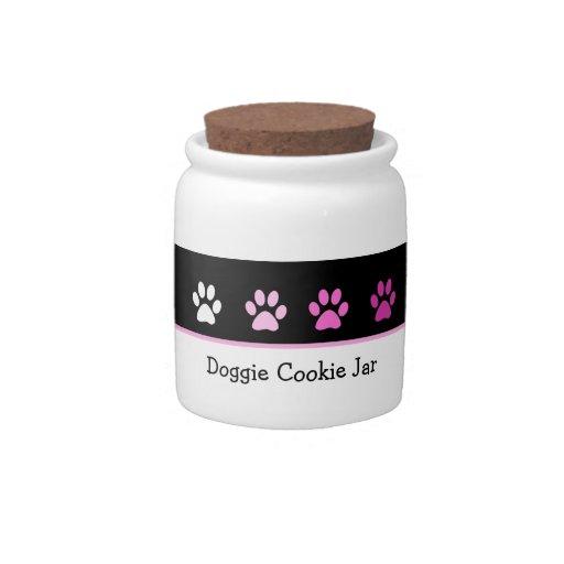 Tarro de galletas de la invitación del perro plato para caramelo