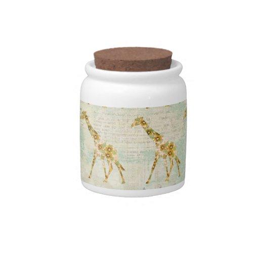 Tarro de galletas floral del modelo de la jirafa tarro de cerámica para dulces