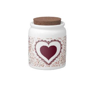 Tarro de galletas precioso del corazón jarras para caramelos