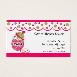 Tarro de galletas, rosa tarjetas de visita