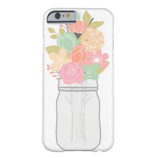 Tarro de la caja del teléfono de las flores funda para iPhone 6 barely there
