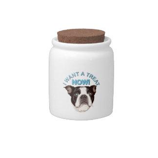Tarro de la invitación de Boston Terrier Tarro De Cerámica Para Dulces