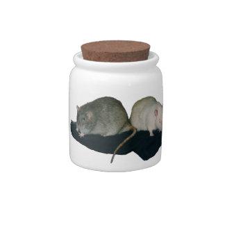 tarro de la invitación de la rata de los amigos de platos para caramelos