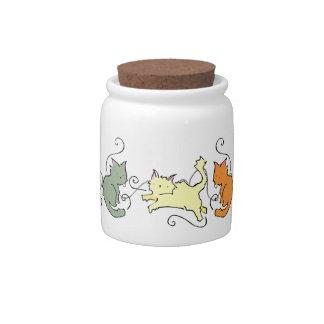 Tarro de la invitación de los gatos del dibujo ani jarra para caramelo