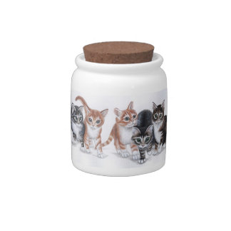 tarro de la invitación del gato de los gatitos del jarra para caramelo