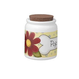 Tarro de la invitación del mascota de las flores d jarra para caramelo